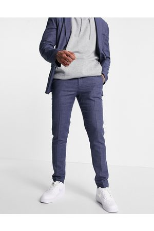 ASOS DESIGN Skinny soft tailored suit trousers in navy linen blend