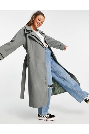 ASOS Double layer trench coat in charcoal-Grey