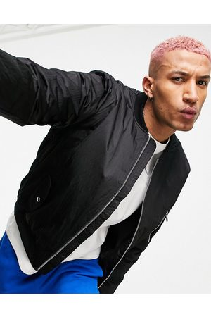 ASOS Heavyweight padded bomber jacket in black with MA1 pocket
