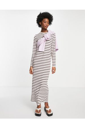 ASOS DESIGN Long sleeve maxi t-shirt dress in pink and brown stripe