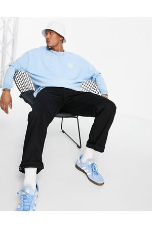 ASOS Oversized long sleeve t-shirt with chest embroidery in blue heavyweight slub
