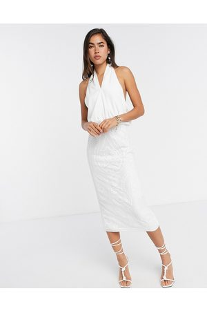 ASOS Cross neck pencil midi dress with embroidered sequin skirt-White