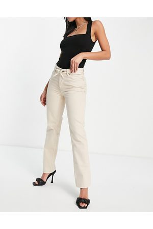 ASOS Mid rise straight leg jeans in ecru with strap detail-White