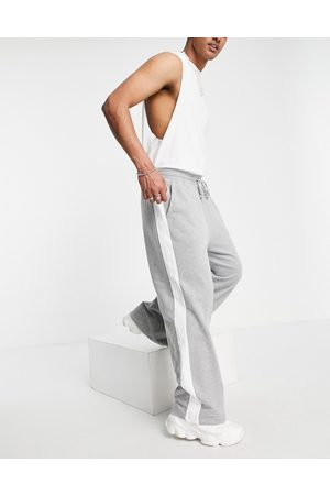 ASOS Wide leg joggers with side stripe in white marl-Neutral