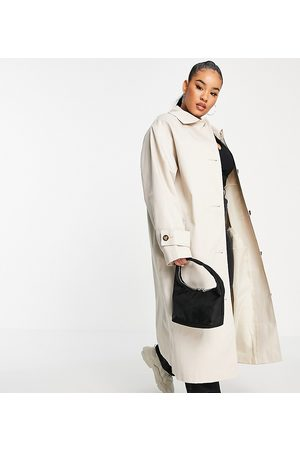 ASOS Curve longline trench coat in stone-White