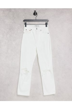 Abercrombie & Fitch Straight leg ripped jeans in white