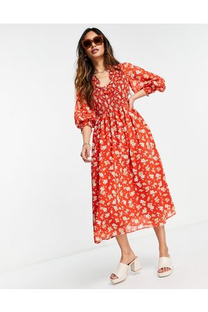 ASOS Midi smock dress with shirred cuffs in deep red floral print-Multi