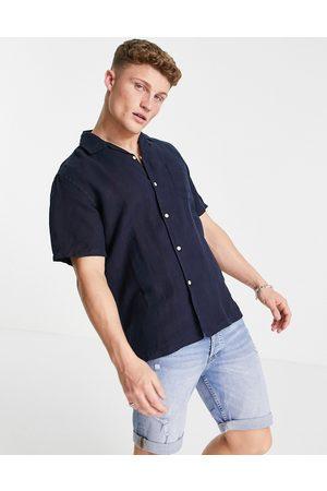 GANT Riviera linen regular fit short sleeve shirt in marine navy