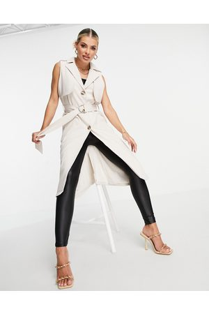 4th & Reckless Sleeveless trench duster in beige-Neutral