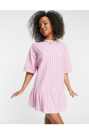 ASOS DESIGN Oversized t-shirt dress with frill hem in pink and lilac stripe