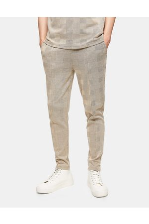 Topman Check joggers in stone-Neutral
