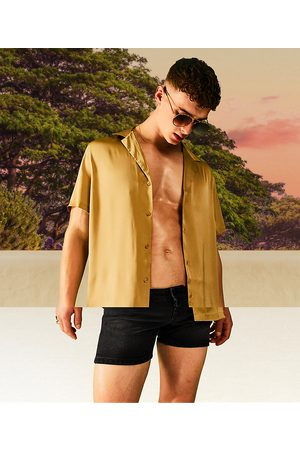 ASOS Relaxed fit satin shirt in dark bronze-Brown