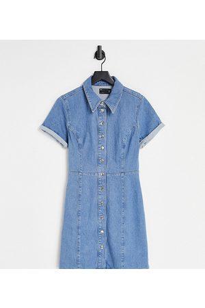 ASOS ASOS DESIGN Tall denim fitted shirt dress in midwash-Blue