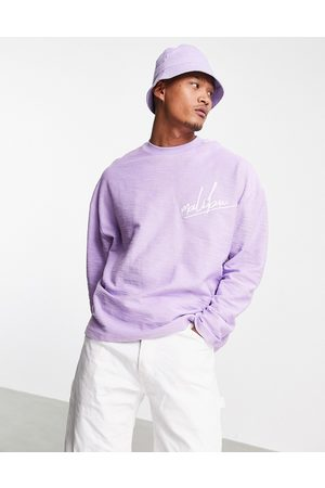 ASOS DESIGN Oversized long sleeve t-shirt in heavyweight slub with chest embroidery-Purple