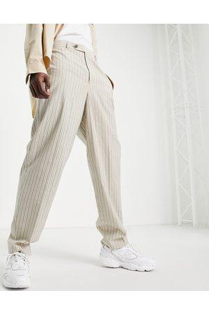 ASOS High waist slim smart trouser in cream seersucker stripe-White