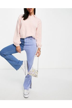 ASOS High rise 'sassy' cigarette jean with split front in two tone wash-Blue