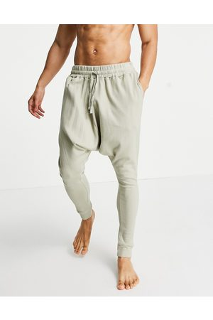ASOS DESIGN Lounge drop crotch joggers in waffle-Neutral
