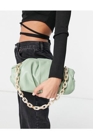 ASOS Oversized ruched clutch bag in sage green with detachable shoulder chain