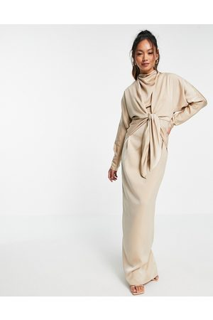 ASOS Batwing maxi dress with tie front-Grey