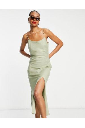 ASOS DESIGN Senhora Vestidos Compridos - Linen cami maxi dress in khaki-Green