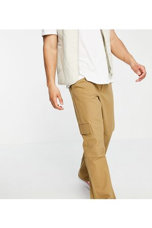 COLLUSION Straight leg cargo trousers in stone-Neutral