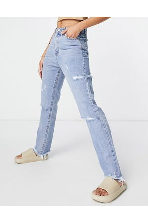 Missguided High waist jean with thigh slash in light blue