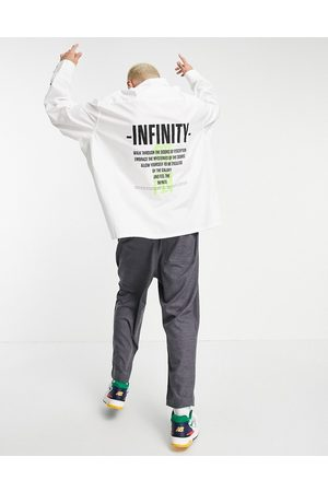 ASOS DESIGN Homem Casual - Super oversized shirt with back text print-White