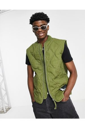 ASOS ASOS Actual quilted gilet in khaki with contrast stitch-Green