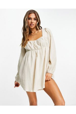 ASOS Square neck milkmaid beach cover up in oatmeal-White