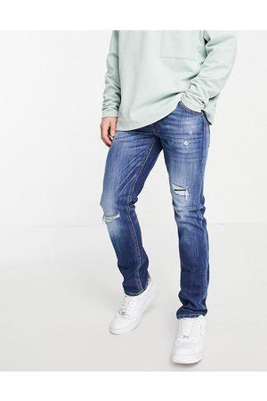 JACK & JONES Intelligence Glenn slim jeans with rips in dark blue