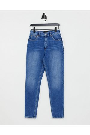 ASOS Hourglass high rise farleigh 'slim' mom jeans in midwash-Blue