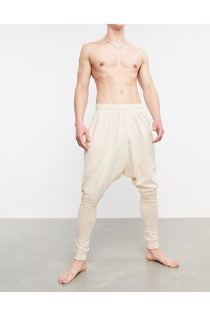 ASOS Drop crotch lounge joggers in beige-Neutral