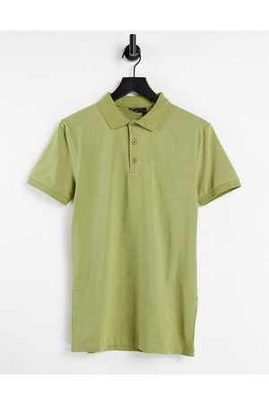 ASOS DESIGN Organic muscle fit jersey polo in khaki-Green
