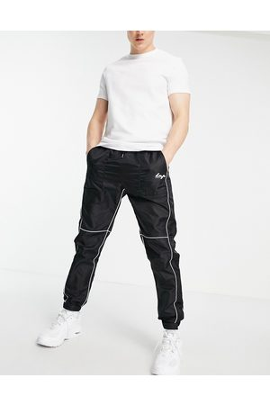 Liquor N Poker Nylon joggers in black with white piping