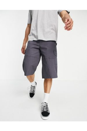 ASOS Wider longer length cargo shorts with panel details in charcoal-Grey