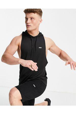 ASOS Icon training hooded sleeveless t-shirt with dropped armhole-Black
