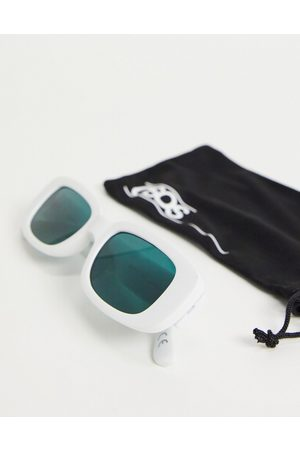 ASOS Mid rectangle sunglasses in white with ink green lens