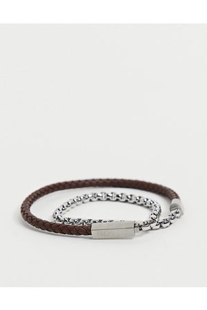 Boss Mens leather chain double wrap bracelet in brown