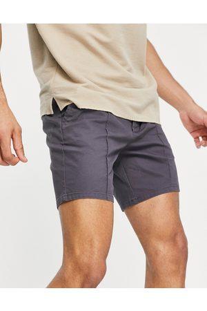 ASOS Slim chino shorts with pin tuck in charcoal-Grey