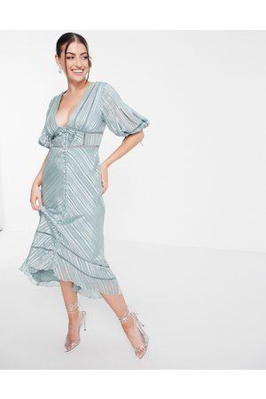 ASOS Puff sleeve midi dress with lace trim in satin jacquard-Multi