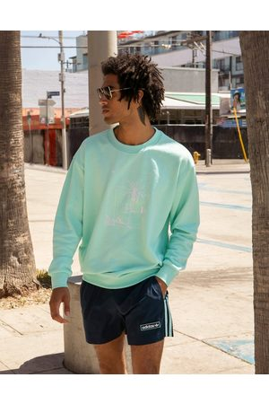 adidas Summer Club' oversized sweatshirt with hand drawn graphic in icy mint-Green