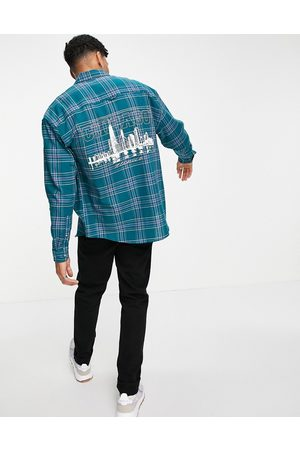 ASOS 90s oversized check shirt with back city print-Green