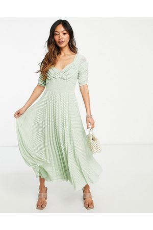 ASOS Ruched front pleated midi dress with shirred waist in chevron dobby in sage green