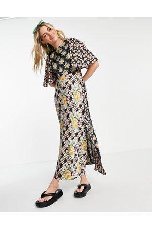 ASOS Angel sleeve mix and match print midi tea dress-Multi