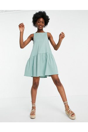 ASOS Sleeveless smock dress with v back in sage green