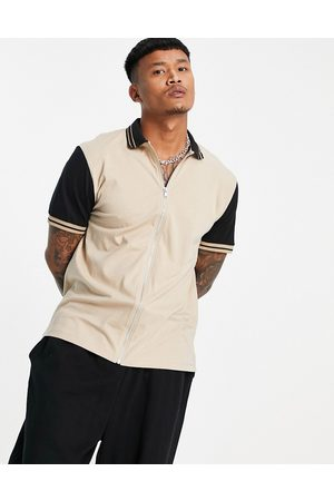 ASOS DESIGN Relaxed jersey shirt with contrast sleeves-Neutral