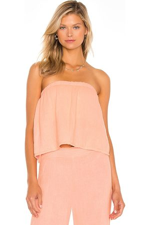 Bobi Senhora Caicais - Beach Gauze Strapless Top in - Pink. Size L (also in XS, S, M).
