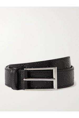 Gucci 3cm Logo-Embossed Perforated Leather Belt
