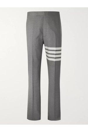 THOM BROWNE Homem Calças Justas - Grey Slim-Fit Tapered Striped Wool Suit Trousers