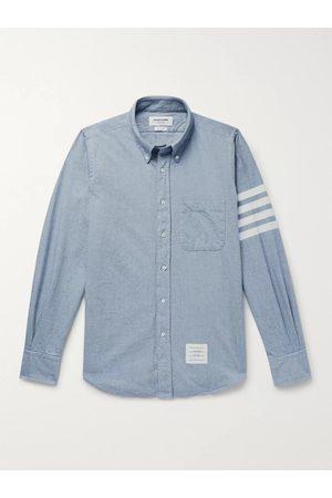 Thom Browne Homem Casual - Button-Down Collar Striped Cotton-Flannel Shirt